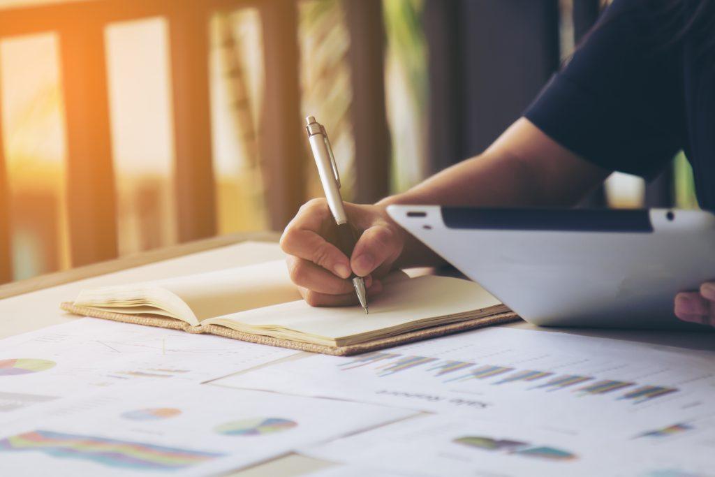 A script writer writing a script