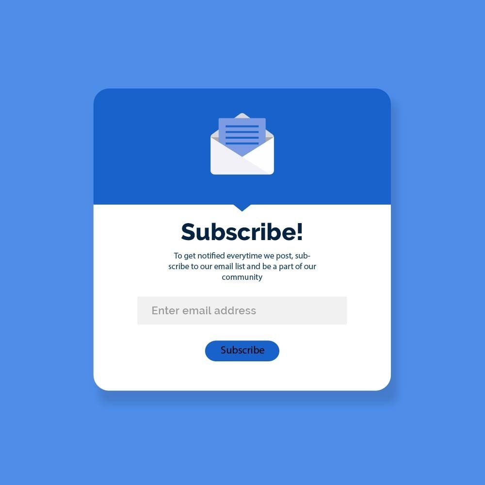 Popup asking to subcribe